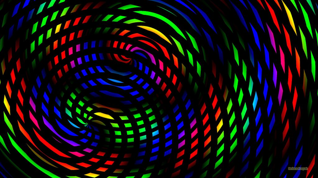 Dark Rainbow spirals wallpaper