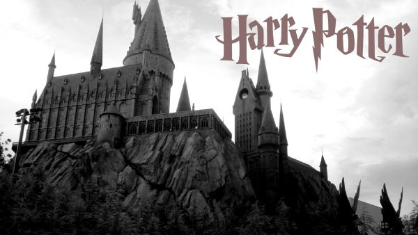Harry Potter Wallpaper with logo and Hogwarts