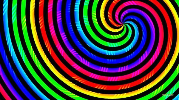 Rainbow wallpaper spirals