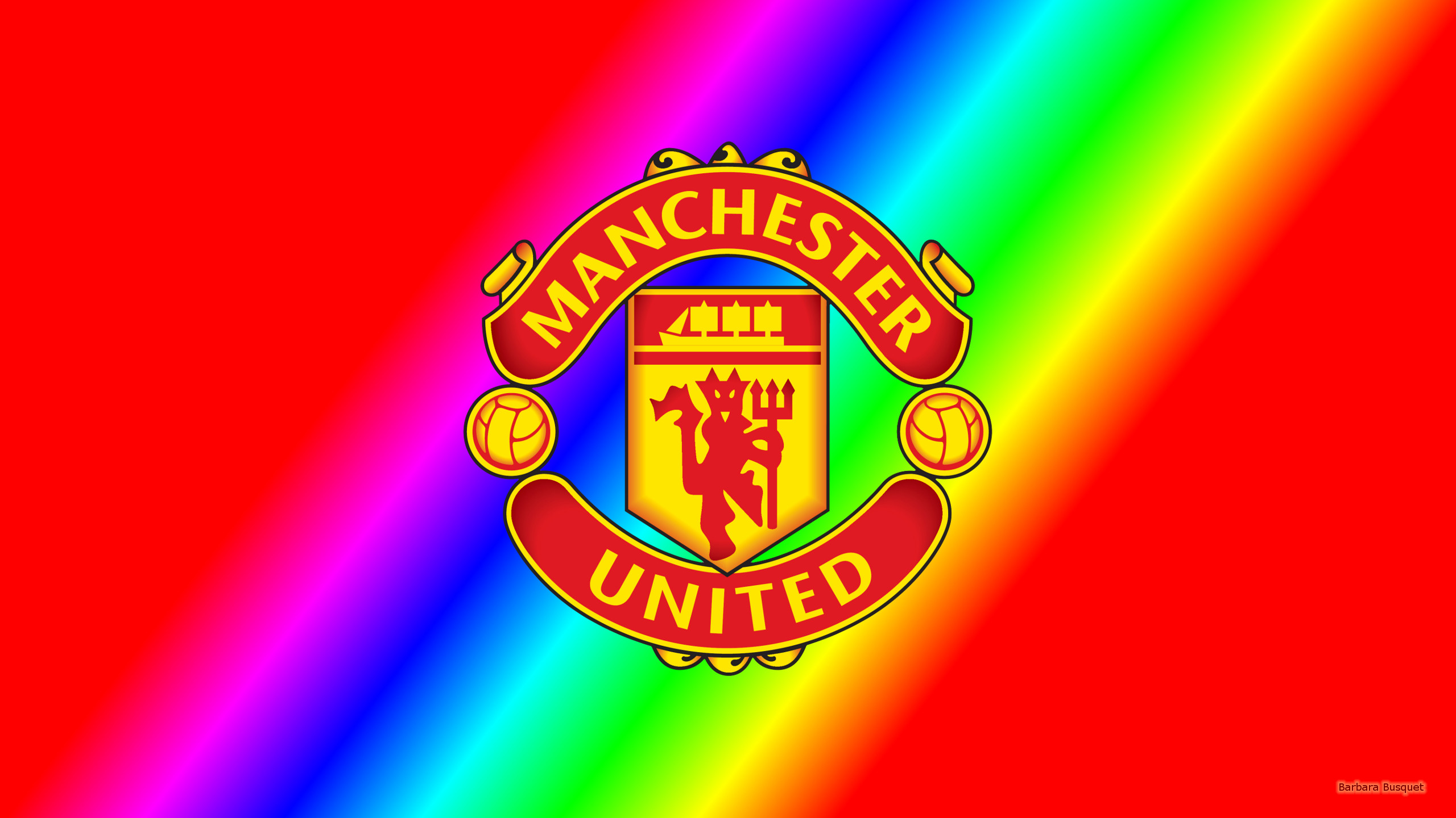 Red rainbow wallpaper with Manchester United logo.
