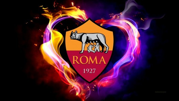 AS Roma with flames wallpaper
