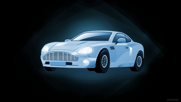 Black wallpaper with blue car