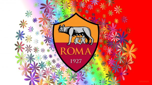 Colorful AS Roma wallpaper flowers
