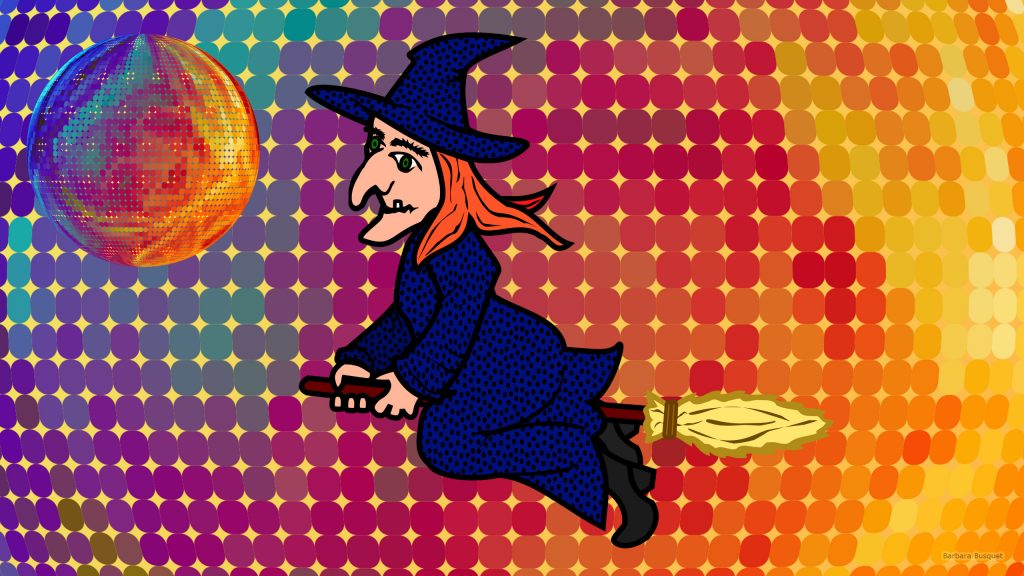 Colorful wallpaper with witch and 3D ball