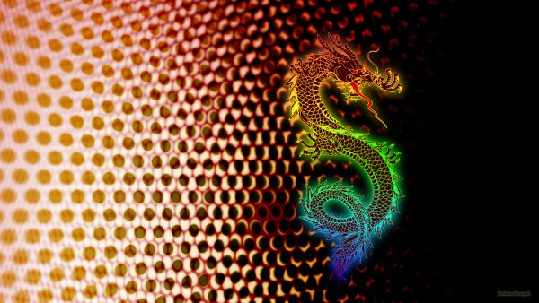Dark abstract dots wallpaper with rainbow dragon