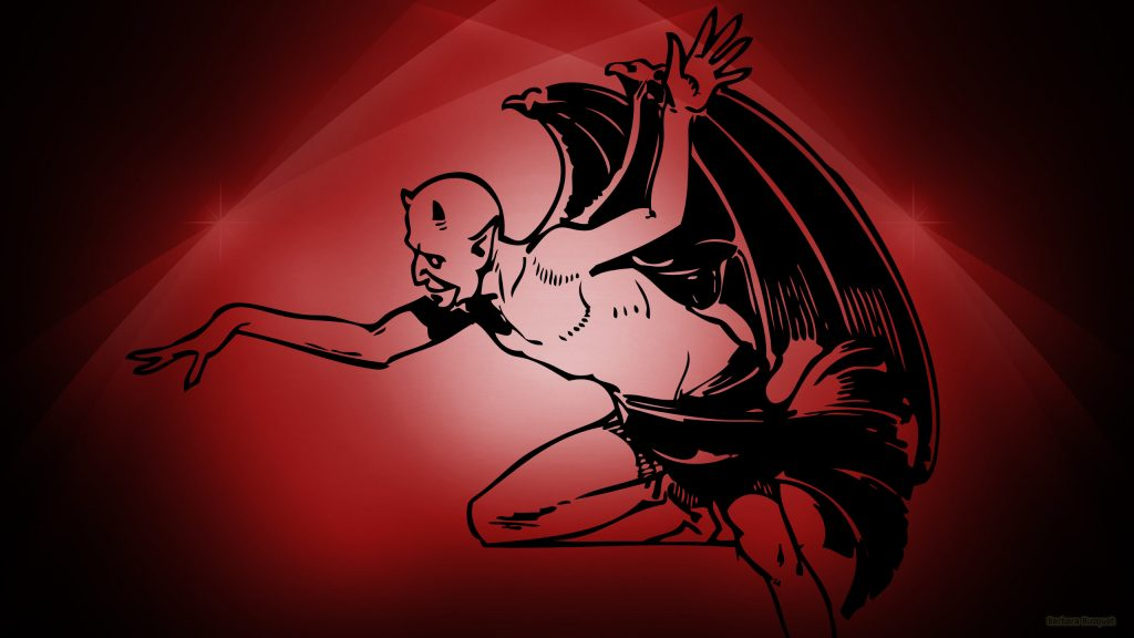 Dark red wallpaper with the devil