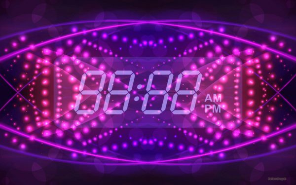 HD wallpaper digital clock on purple pink background