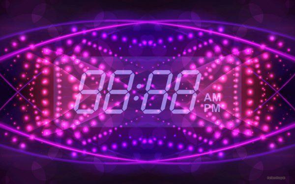 HD wallpaper digital clock on purple pink background