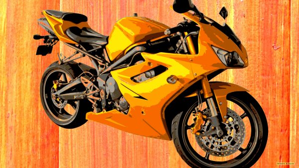 Orange wallpaper with motorbike