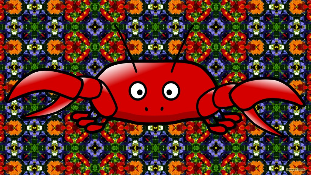 Red crab on a flower pattern background