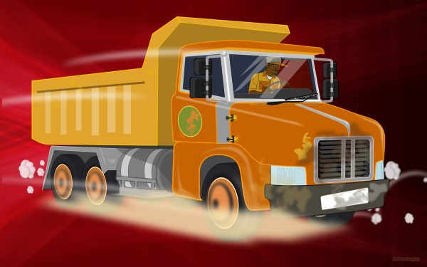Red wallpaper with dump truck