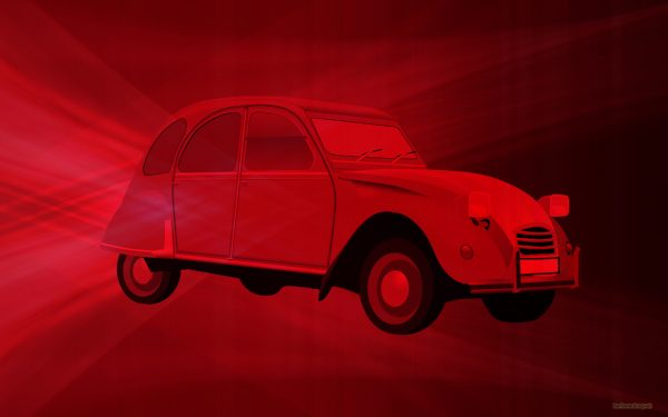 Red wallpaper with red car