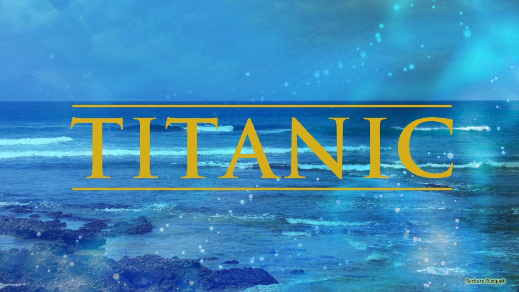 Titanic wallpaper with logo and ocean