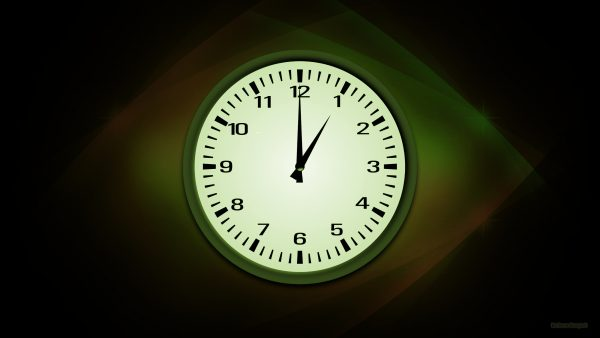 black green curves wallpaper with analog clock