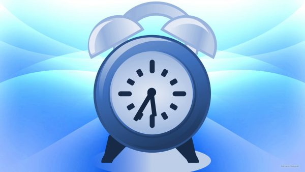 white blue curves wallpaper with alarm clock
