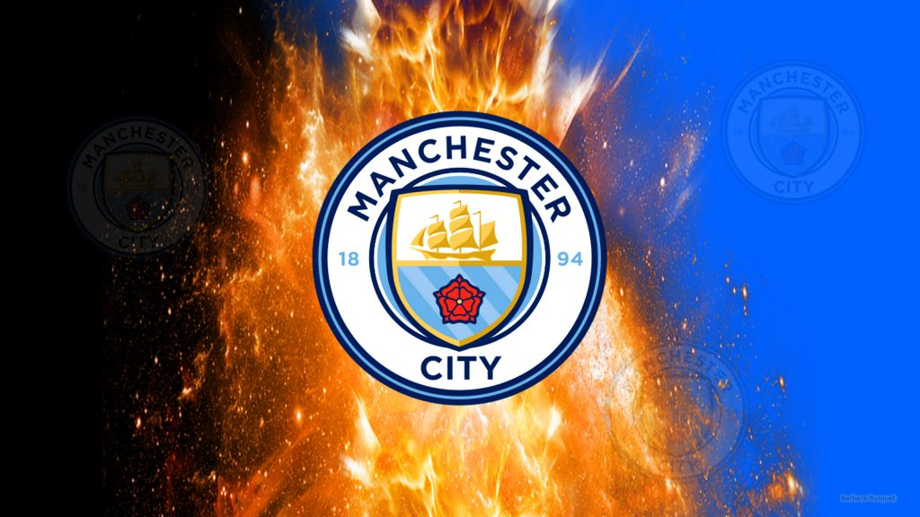 Black blue Manchester City wallpaper with fire