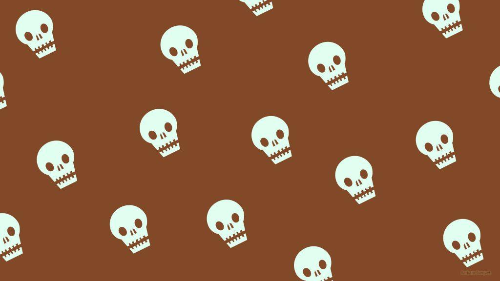 Brown pattern wallpaper with skulls