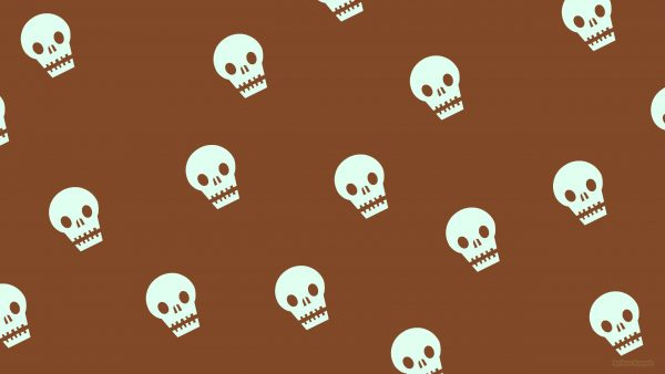 Brown pattern wallpaper with skulls