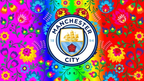 Colorful Manchester city wallpaper with flowers