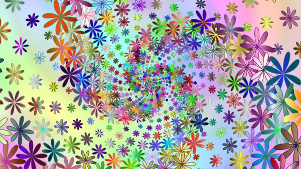 Flower spiral pattern wallpaper in many colors.