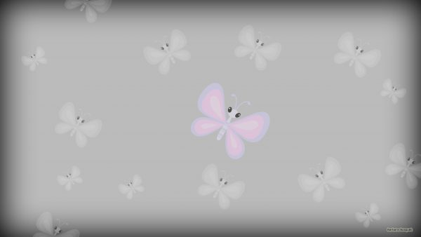 Gray pattern wallpaper with butterflies