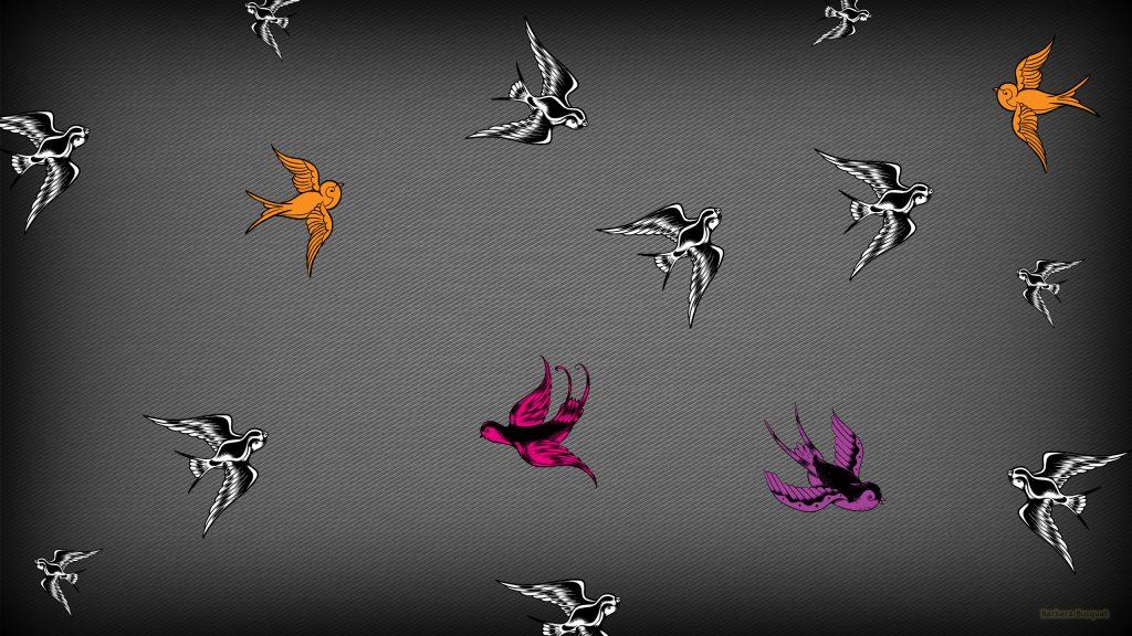 Gray wallpaper with bird pattern