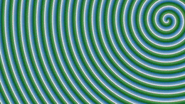 Green blue spiral pattern wallpaper