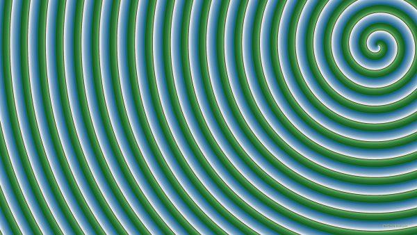 Green blue spiral pattern wallpaper