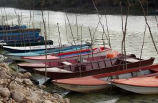 Small boats in river