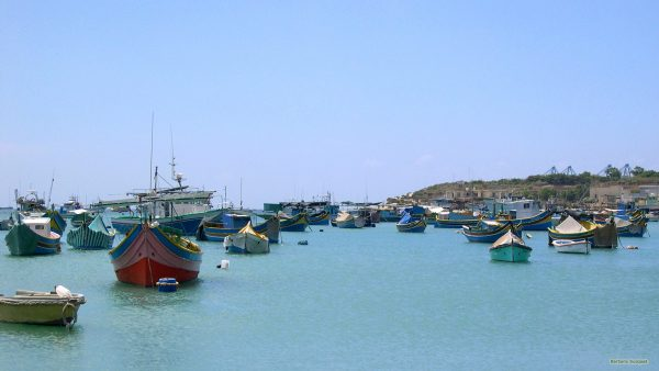 Malta wallpaper boats in blue Mediterranean Sea