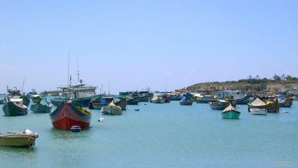 Malta wallpaper boats in blue Mediterranean Sea