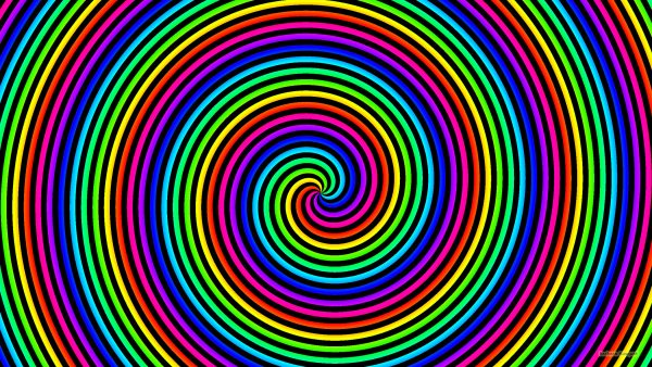 Rainbow spirals wallpaper with black.