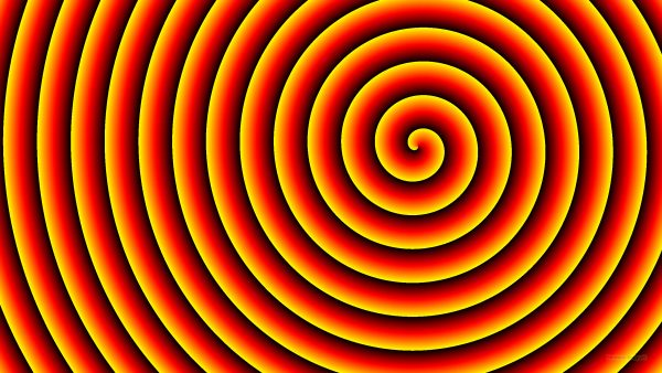 Spirals wallpaper with red, black and yellow colors.