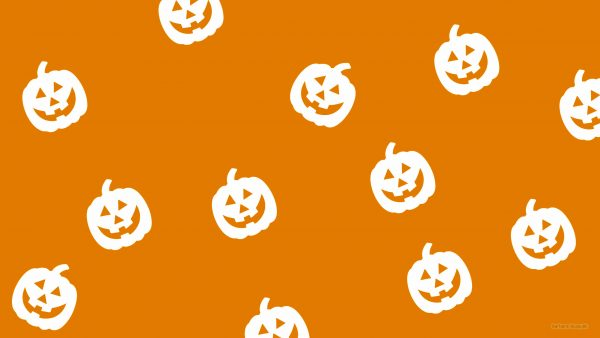 Simple orange Halloween wallpaper with pumpkins