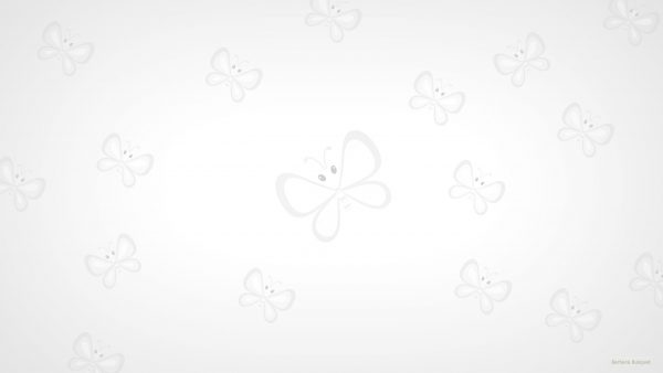 White pattern wallpaper with butterflies