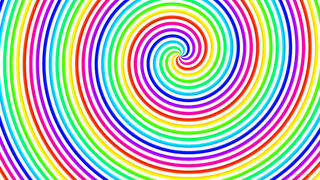 Rainbow spirals wallpaper with white