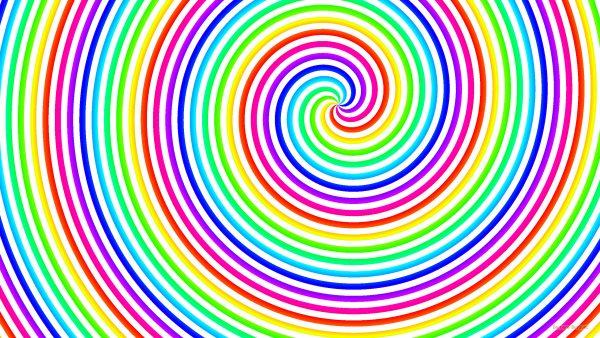 Rainbow spirals wallpaper with white