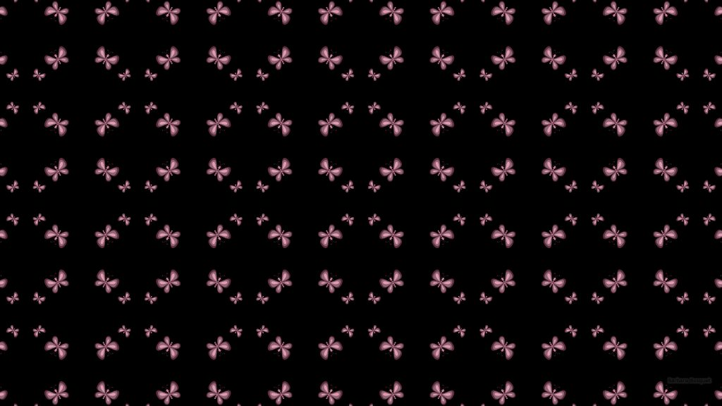 Black pattern wallpaper with pink butterflies