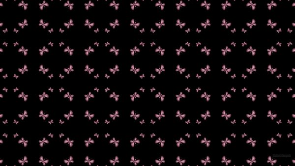 Black pattern wallpaper with pink butterflies