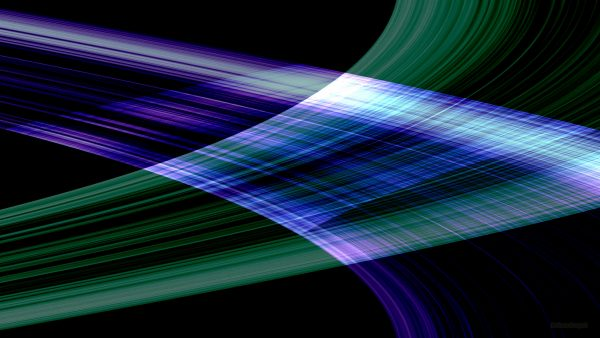 Blue and green lines on black background