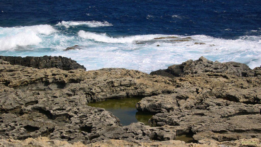 Blue ocean and rocks wallpaper