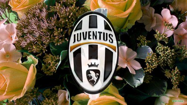 Juventus logo wallpaper with orange flowers