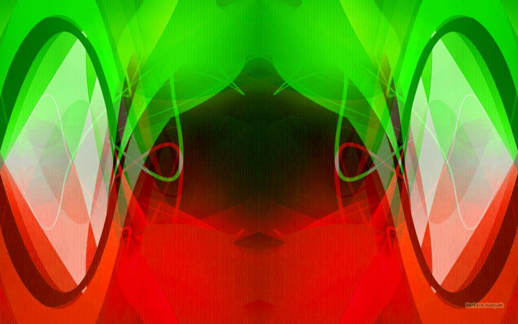 Abstract symmetric wallpaper in green and red colors