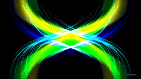 Black luminous wallpaper with yellow green and blue lights