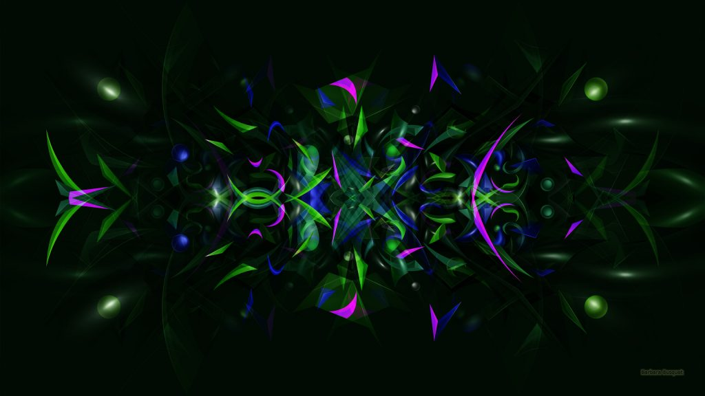 Dark abstract wallpaper with small shapes in green blue and purple.