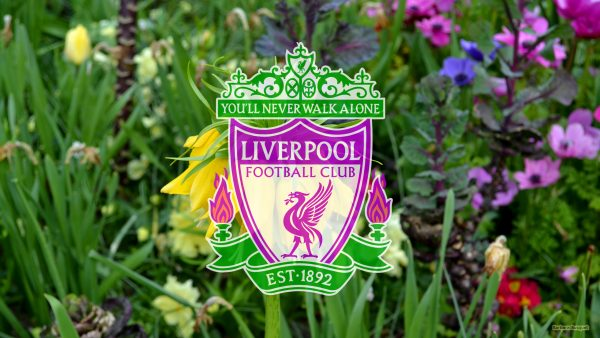 Liverpool FC wallpaper with flowers and logo