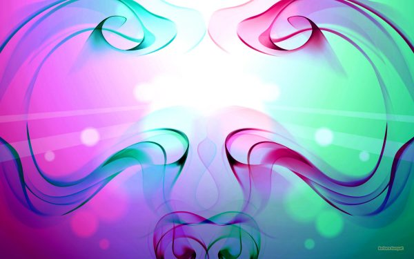 Symmetric abstract wallpaper in green and pink colors