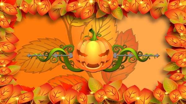 Colorfull Halloween wallpaper with leaves