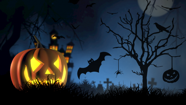 Dark Halloween wallpaper with pumpkin