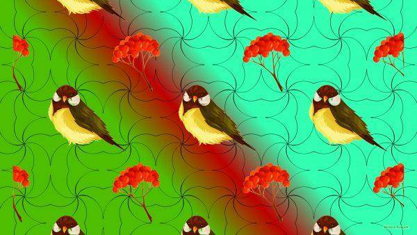 Fall wallpaper birds and berries